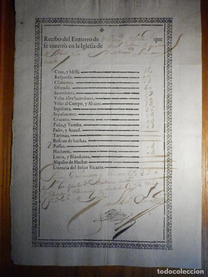 BONITO DOCUMENTO - RECIBO ENTIERRO IGLESIA DE SAN MILLÁN - SALVADOR HERNANDEZ SANDOBAL - AÑO 1739 (Coleccionismo - Documentos - Manuscritos)