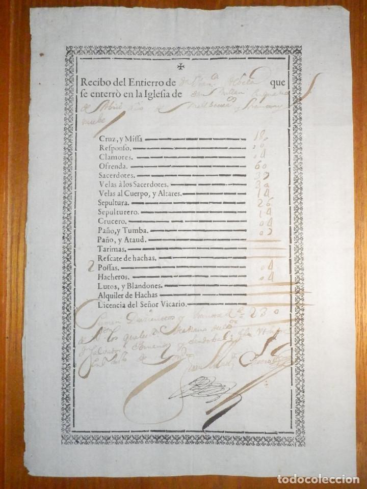 Manuscritos antiguos: Bonito Documento - Recibo Entierro Iglesia de San Millán - Salvador Hernandez Sandobal - Año 1739 - Foto 2 - 215092696