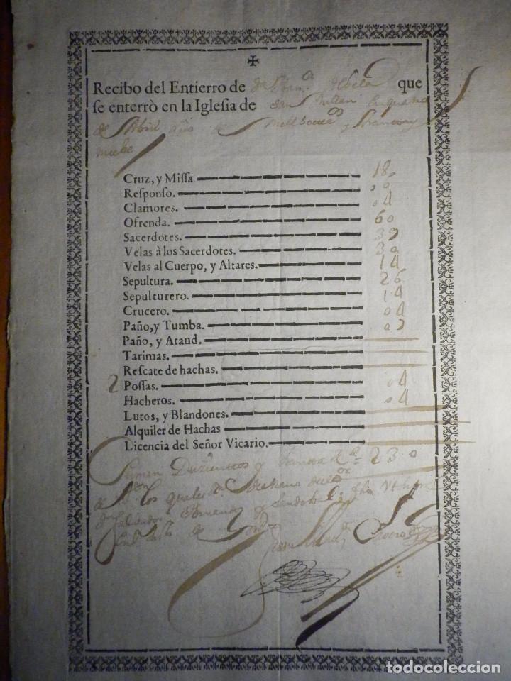 Manuscritos antiguos: Bonito Documento - Recibo Entierro Iglesia de San Millán - Salvador Hernandez Sandobal - Año 1739 - Foto 3 - 215092696