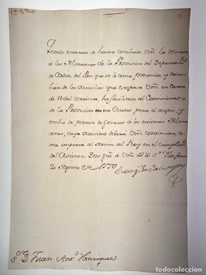 MANUSCRITO CARTA DEL MARQUÉS GONZÁLEZ DE CASTEJÓN A JUAN A. HENRIQUEZ - 1779 - ORIGINAL - D005 (Coleccionismo - Documentos - Manuscritos)