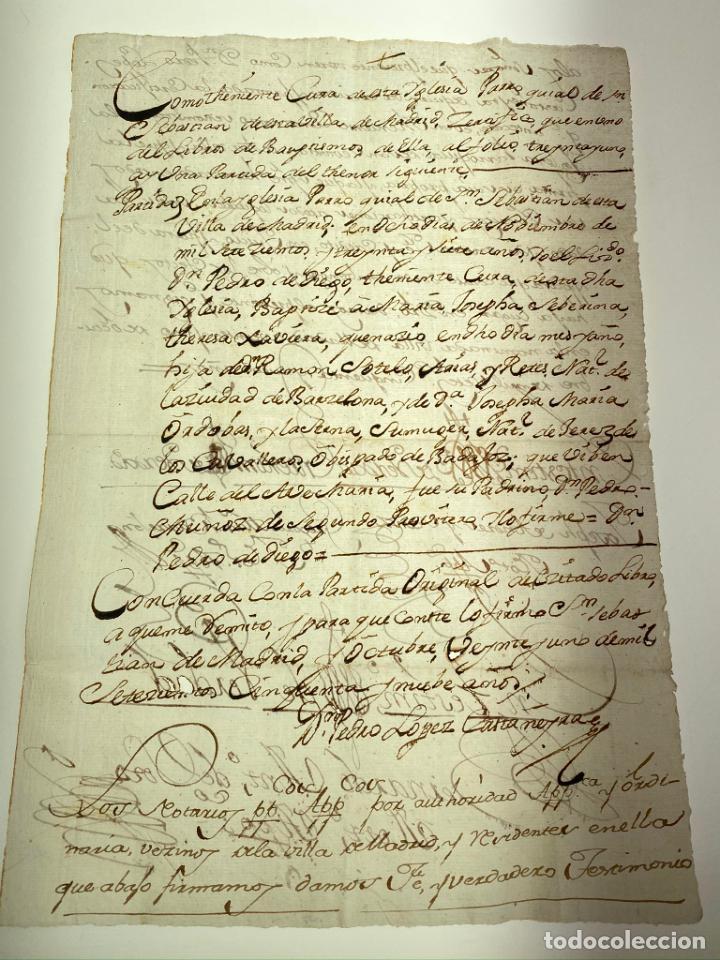 MANUSCRITO PARTIDA BAUTISMO MARIA JOSEPHA SEBERIANA THERESA XAVIERA - MADRID - 1759 - ORIGINAL- D007 (Coleccionismo - Documentos - Manuscritos)