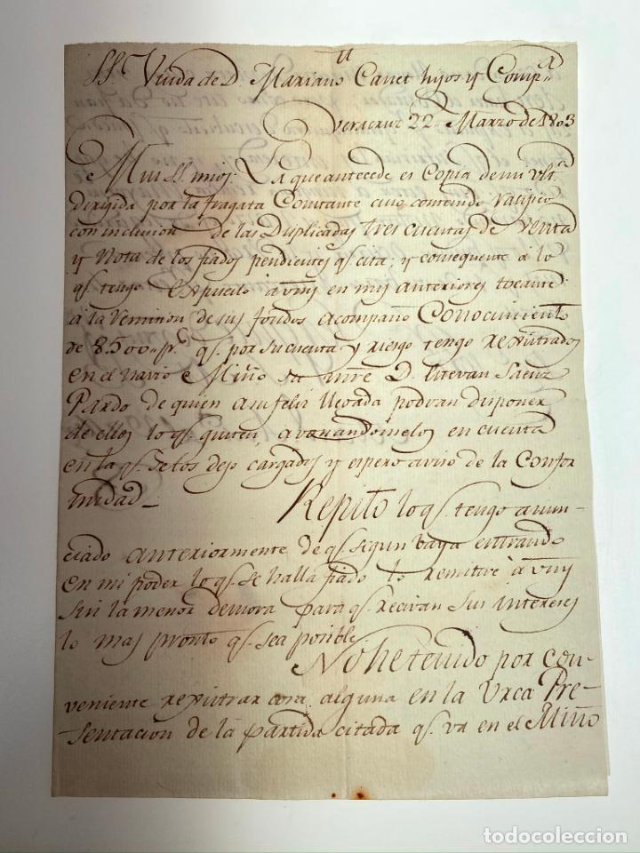 Manuscritos antiguos: Documento Conocimiento de Embarque - Envío de Dinero 8.500 pesos de plata noble - 1803 - D010 - Foto 2 - 215301138