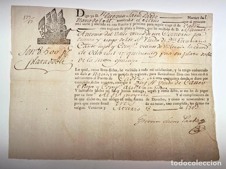 DOCUMENTO CONOCIMIENTO DE EMBARQUE - ENVÍO DE DINERO 8.500 PESOS DE PLATA NOBLE - 1803 - D010 (Coleccionismo - Documentos - Manuscritos)