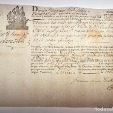 Manuscritos antiguos: DOCUMENTO CONOCIMIENTO DE EMBARQUE - ENVÍO DE DINERO 8.500 PESOS DE PLATA NOBLE - 1803 - D010. Lote 215301138