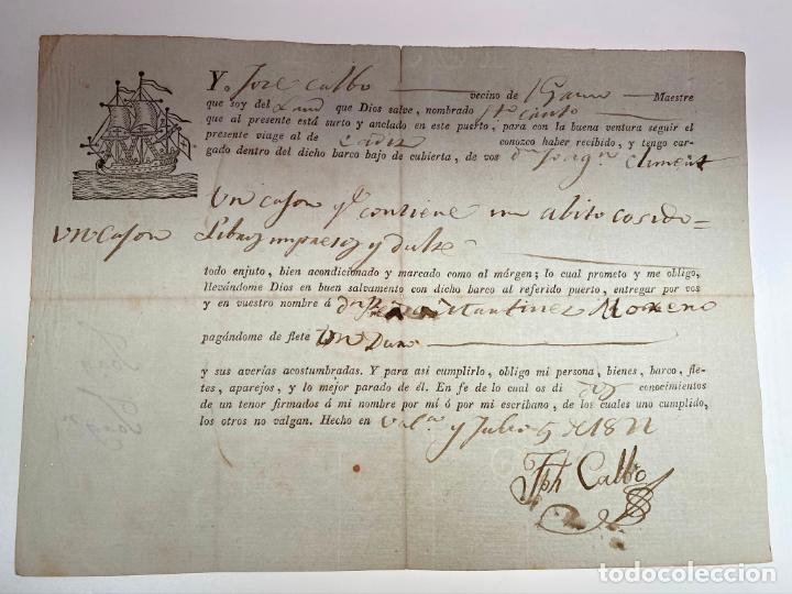 DOCUMENTO CONOCIMIENTO DE EMBARQUE - ENVÍO DE UN CAJÓN CON UN ABITO COSIDO... - 1822 - D011 (Coleccionismo - Documentos - Manuscritos)