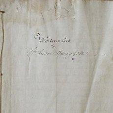 Manuscritos antiguos: TESTAMENTO TERESA VILLEGAS Y CISTARÉ. MELITON DE LLOSELLAS. NOTARIO. 1862. BUENAVENTURA MOLAS.. Lote 215532733