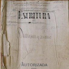 Manuscritos antiguos: ESCRITURA DE DIMISIÓN Y CONVENIO. RAIMUNDA CISTARÉ. JOSEFA ILAS. FRANCISCO MASPONS. NOTARIO. 1879.. Lote 215534258