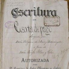 Manuscritos antiguos: ESCRITURA DE CARTA DE PAGO. PELEGRINA DE MAS MARIANGELA. JOSEFA ILLAS VILA. FRANCISCO MASPONS. 1897.. Lote 215534415