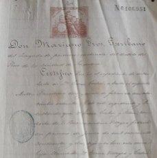 Manuscritos antiguos: CERTIFICADO. MARIANO GROS ESCRIBANO. HERENCIA. TERESA CISTARÉ RIBERA. BUENAVENTURA VILLEGAS. 1880.. Lote 215543633