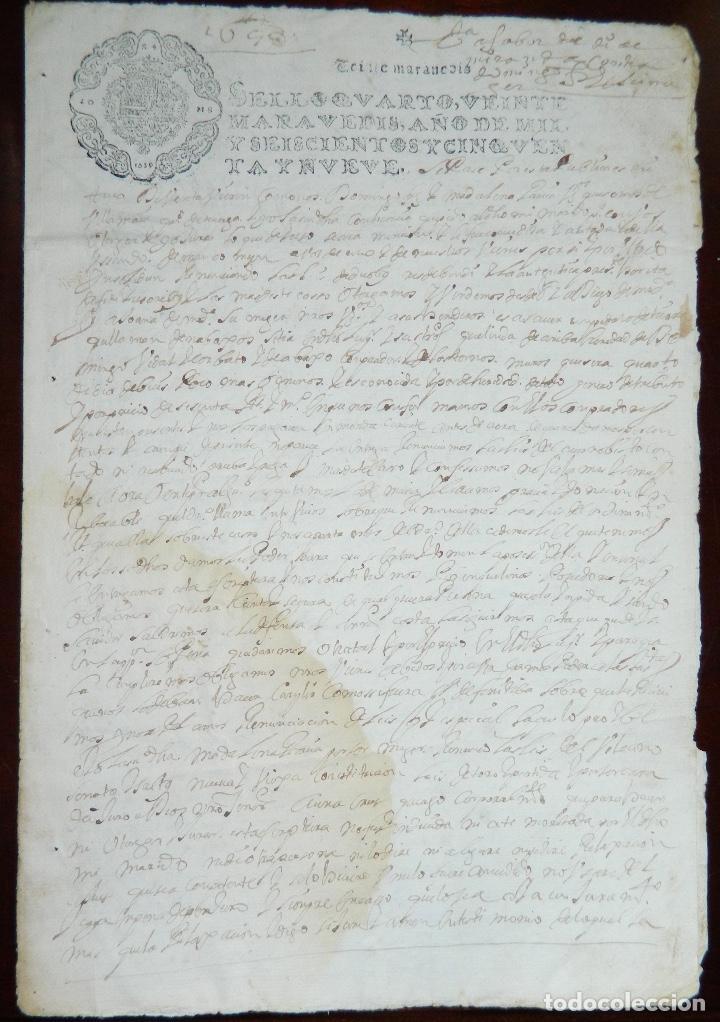 1659 FELIPE IV , INERESANTE DOCUMENTO ORIGINAL DE EPOCA (Coleccionismo - Documentos - Manuscritos)