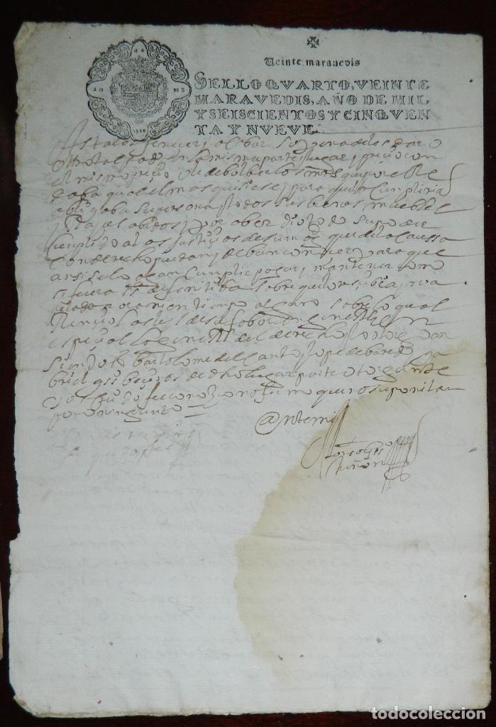 Manuscritos antiguos: 1659 FELIPE IV , INERESANTE DOCUMENTO ORIGINAL DE EPOCA - Foto 3 - 215717055