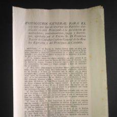 Manuscritos antiguos: INSTRUCCIÓN GENERAL PERSECUCIÓN MALHECHORES CONTRABANDISTAS VAGOS Y DESERTORES 1817 CAPITÁN GENERAL. Lote 215730975