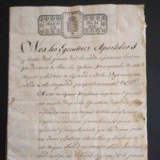 Manuscritos antiguos: DOCUMENTO NOTARIAL EJECUTORES APOSTÓLICOS 1839 SIGLO XIX SELLO PLACA SANTA CRUZADA ISABEL II. Lote 215788267