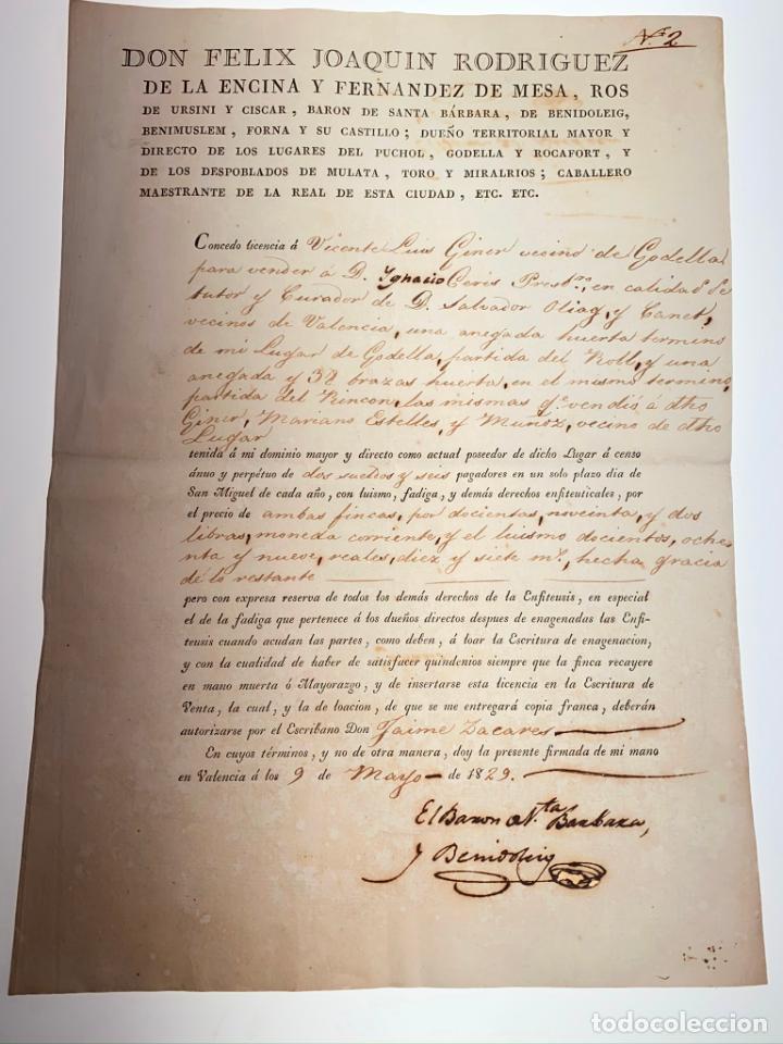 DOCUMENTO MANUSCRITO D. FELIX JOAQUÍN RODRIGUEZ BARÓN STA. BÁRBARA. 1829 - ANTIGUO - ORIGINAL - D026 (Coleccionismo - Documentos - Manuscritos)