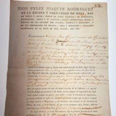 Manuscritos antiguos: DOCUMENTO MANUSCRITO D. FELIX JOAQUÍN RODRIGUEZ BARÓN STA. BÁRBARA. 1829 - ANTIGUO - ORIGINAL - D026. Lote 215844681