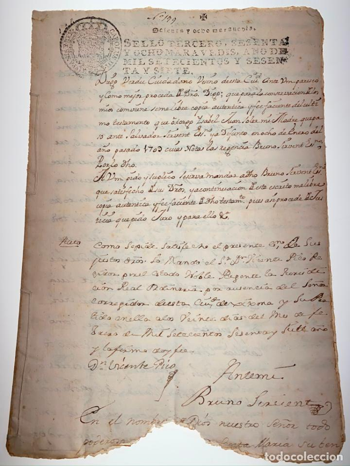 Manuscritos antiguos: Documento Manuscrito Copia de Testamento Decreto de Nova Planta. 1767 - Antiguo - Original - D024 - Foto 1 - 215844932