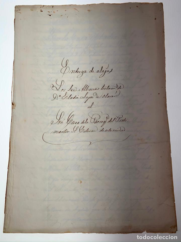 DOCUMENTO MANUSCRITO ENTREGA DE ALAJAS A LA PARROQUIA - VALENCIA. 1862 - ANTIGUO - ORIGINAL - D021 (Coleccionismo - Documentos - Manuscritos)