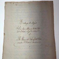Manuscritos antiguos: DOCUMENTO MANUSCRITO ENTREGA DE ALAJAS A LA PARROQUIA - VALENCIA. 1862 - ANTIGUO - ORIGINAL - D021. Lote 215845676