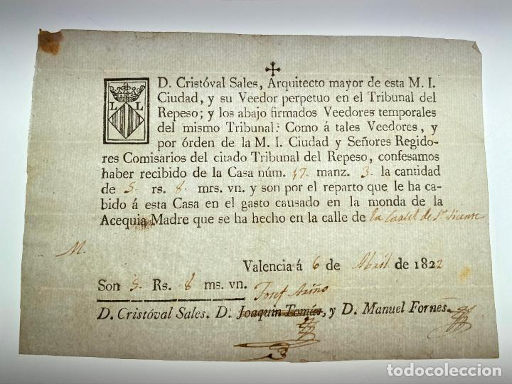 DOCUMENTO PAGO MONDA DE LA ACEQUIA MADRE DE LA CARCEL D - VALENCIA. 1822 - ANTIGUO - ORIGINAL - D020 (Coleccionismo - Documentos - Manuscritos)