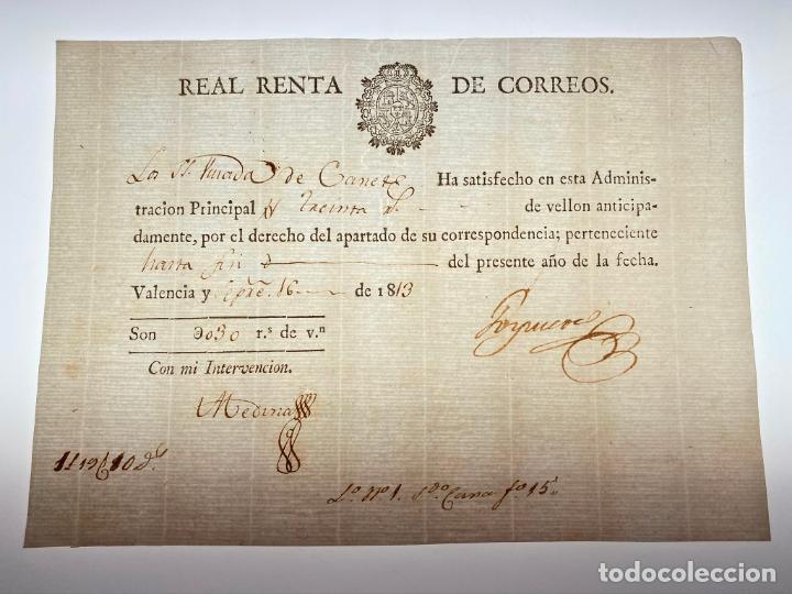 DOCUMENTO DE PAGO POR EL APARTADO DE SU CORRESPONDENCIA - CORREOS - VALENCIA -1813 - D016 (Coleccionismo - Documentos - Manuscritos)