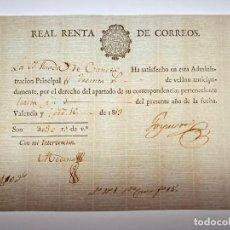 Manuscritos antiguos: DOCUMENTO DE PAGO POR EL APARTADO DE SU CORRESPONDENCIA - CORREOS - VALENCIA -1813 - D016. Lote 215875216