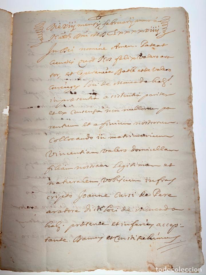 Manuscritos antiguos: Documento Carta Nupcial o Compromiso Matrimonial en Latín de Moncada - Valencia -1699 - D015 - Foto 2 - 215876520