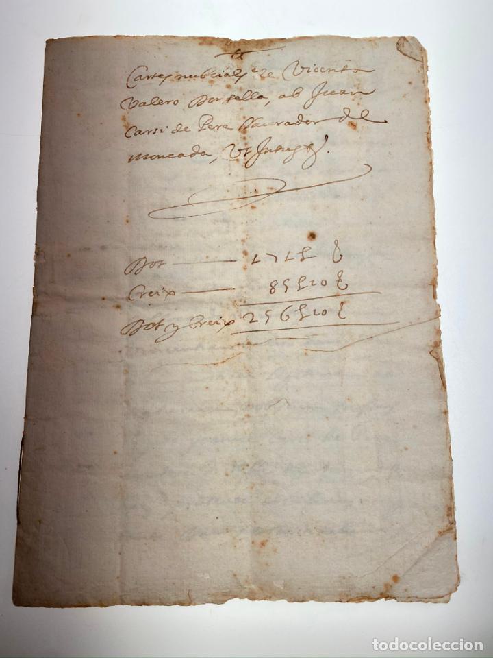 DOCUMENTO CARTA NUPCIAL O COMPROMISO MATRIMONIAL EN LATÍN DE MONCADA - VALENCIA -1699 - D015 (Coleccionismo - Documentos - Manuscritos)