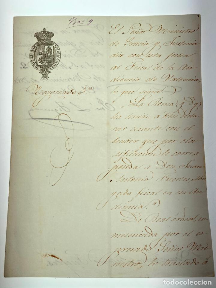 DOCUMENTO CARTA CESE DE ABOGADO FISCAL - VALENCIA -1858 - D014 (Coleccionismo - Documentos - Manuscritos)