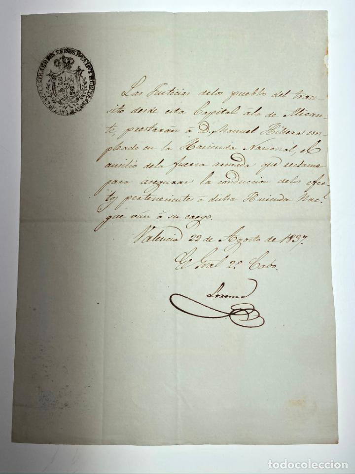 DOCUMENTO DE ORDEN DE AYUDA DE LAS FUERZAS ARMADAS AL EMPLEADO DE HACIENDA - VALENCIA -1837 - D013 (Coleccionismo - Documentos - Manuscritos)