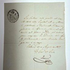 Manuscritos antiguos: DOCUMENTO DE ORDEN DE AYUDA DE LAS FUERZAS ARMADAS AL EMPLEADO DE HACIENDA - VALENCIA -1837 - D013. Lote 215877296