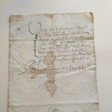 Manuscritos antiguos: DOCUMENTO MANUSCRITO SIGLO XVII 1661 VENDA FETA Y FIRMADA DE GUISONA EN LATÍN TARREGA. Lote 215933547