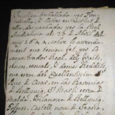 Manuscritos antiguos: DOCUMENTO MANUSCRITO SUPLICA TRABAJADOR SOBRE ARRENDAMIENTO BARONIAS DE BELLPUIG 1644 SIGLO XVII. Lote 215943360
