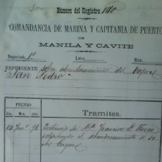Manuscritos antiguos: EXPEDIENTE SOBRE ABANDERAMIENTO DE BUQUE, MANILA Y CAVITE, SIGLO XIX, FILIPINAS. Lote 215952887