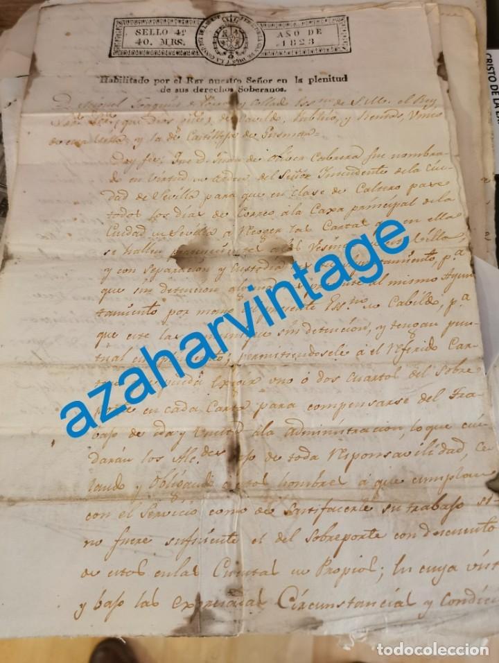 1823, NOMBRAMIENTO Y CONDICIONES ESCONOMICAS CARTERO SERVICIO SEVILLA - CASTILLEJA DE LA CUESTA (Coleccionismo - Documentos - Manuscritos)
