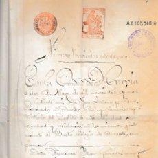 Manuscritos antiguos: 1915 MURCIA SELLO FISCAL 3º DE 50 PTS DOCUMENTO MANUSCRITO PAPEL SELLADO. SERIE 1910-18. Lote 216475751