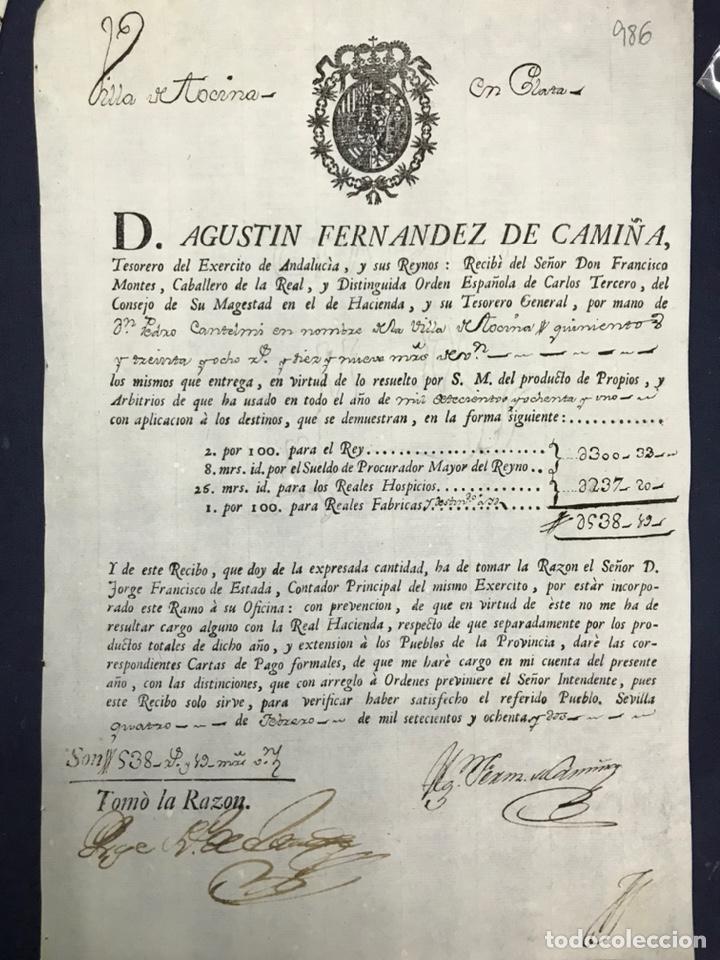 Manuscritos antiguos: 1782. VILLA DE TOCINA. PAGO DE PROPIOS Y ARBITRIOS DE 1781. FIRMA DEL TESORERO DEL EJERCITO ANDALUCI - Foto 2 - 216472940