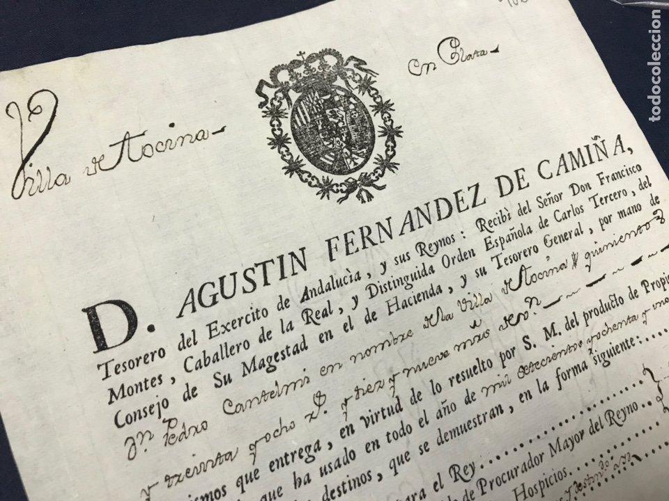 1782. VILLA DE TOCINA. PAGO DE PROPIOS Y ARBITRIOS DE 1781. FIRMA DEL TESORERO DEL EJERCITO ANDALUCI (Coleccionismo - Documentos - Manuscritos)
