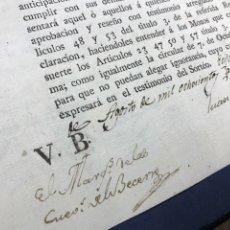 Manuscritos antiguos: 1815 ÉCIJA. FIRMA MANUSCRITA MARQUÉS DE LAS CUEVAS DEL BECERRO. CONTRIBUCIÓN SOLDADOS VILLA TOCINA.. Lote 216474152