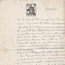 Manuscritos antiguos: 1914 FORTUNA ( MURCIA) SELLO FISCAL 12º DE 10 CTS DOCUMENTO MANUSCRITO PAPEL SELLADO. SERIE 1910-18. Lote 216537762