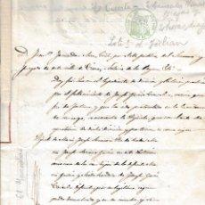 Manuscritos antiguos: 1859 FORTUNA ( MURCIA) SELLO FISCAL 1º DE 32 RLS PARTICION BIENES DOCUMENTO MANUSCRITO PAPEL SELLADO. Lote 216539375