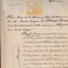Manuscritos antiguos: 1887 ALMANSA MOLINA MURCIA SELLO FISCAL 1º DE 100 PTS PARTICION BIENES DOCUMENTO MANUSCRITO. Lote 216547715