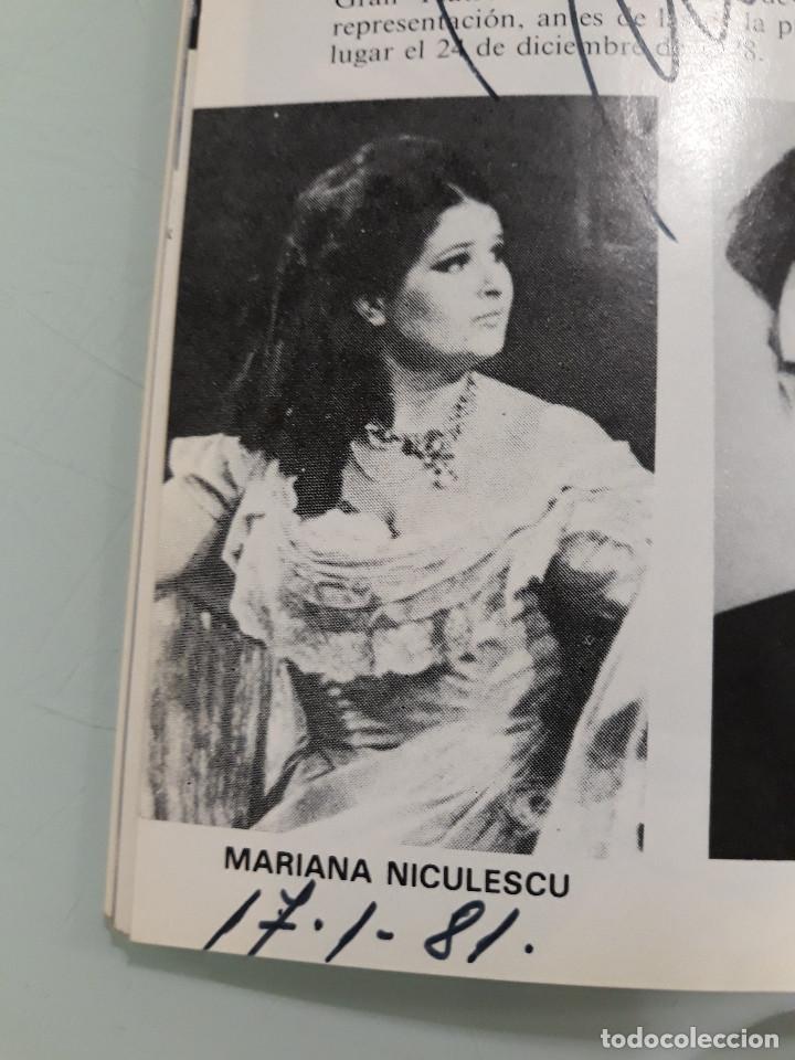 PROGRAMA OPERA CON FIRMA ORIGINAL DE MARIANA NICOLESCO (Coleccionismo - Documentos - Manuscritos)