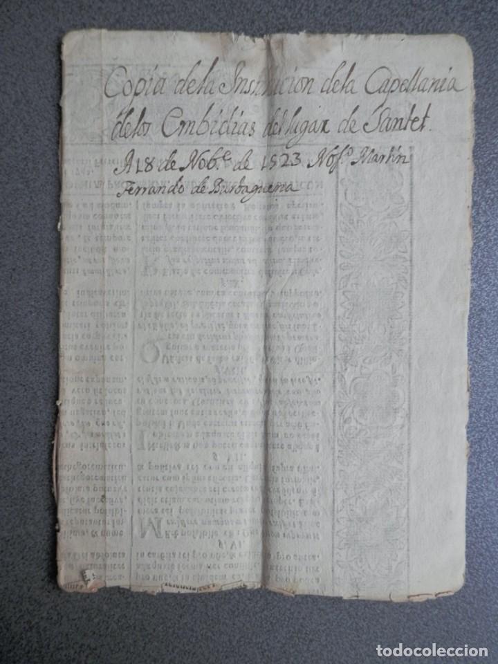 Manuscritos antiguos: MANUSCRITO AÑO 1523 SANTED BURBAGUENA, ZARAGOZA, INSTITUCIÓN CAPELLANÍA DE LOS EMBIDIAS 15 PÁGS. - Foto 6 - 216954140