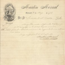 Manuscritos antiguos: MARTÍN MORRAL. FÁBRICA HILADOS, LANA Y ESTAMBRE. 1907. CARTA A A. BADÍA. SABADELL.. Lote 216976573