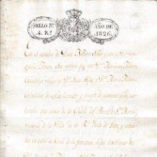 Manuscritos antiguos: 1826 PUERTO SANTA MARIA, ISLA DE LEON (CADIZ) SELLO FISCAL 3º 4 RLS DOCUMENTO MANUSCRITO TUY (PONTEV. Lote 217155353