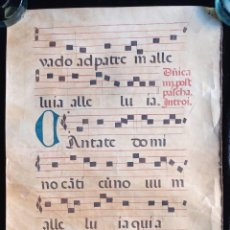 Manuscritos antiguos: HOJA CANTORAL PERGAMINO - PARTITURA MUSICAL - 3 COLORES - DOBLE CARA - GRAN FORMATO - 56X40CM. Lote 217173225