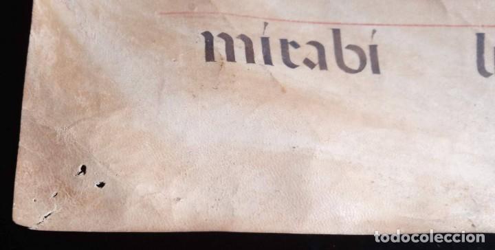Manuscritos antiguos: HOJA CANTORAL PERGAMINO - PARTITURA MUSICAL - 3 COLORES - DOBLE CARA - GRAN FORMATO - 56x40cm - Foto 9 - 217173225