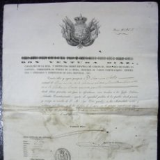 Manuscritos antigos: PASAPORTE DADO EN BARCELONA PARA UNA PERSONA NATURAL DE REUS - 1850 - GRAN FORMATO - MUY DECORATIVO. Lote 217528668