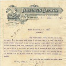 Manuscritos antiguos: FLORENTÍN BARAZA. TRAPOS DE TODAS CLASES. ZARAGOZA. 1907. CARTA A A. BADÍA. SABADELL.. Lote 217537716
