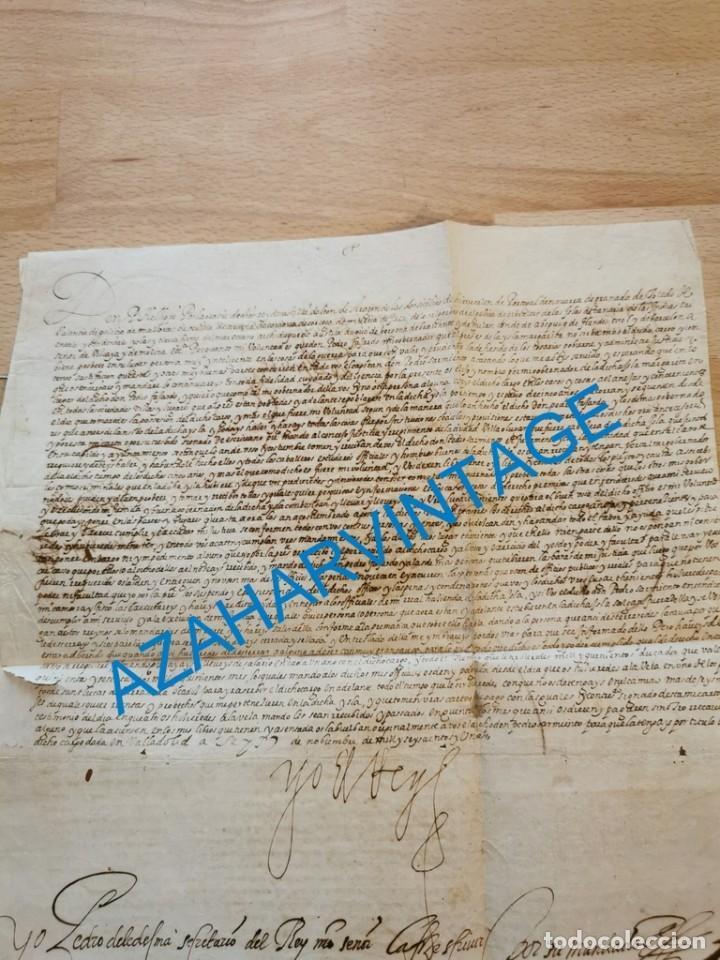 Manuscritos antiguos: 1601, NOMBRAMIENTO GOBERNADOR DE ISLA MARGARITA, FIRMA DE FELIPE III, VER IMAGENES, ESPECTACULAR - Foto 3 - 217723118
